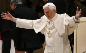 the pope with arms extended