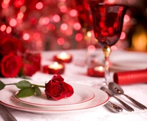 rose and table decoration for San Valentino in Italy