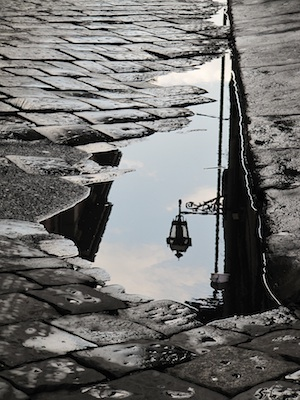 reflection of streets in Italy