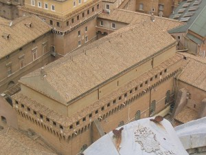 The sistine chapel from birds eye view