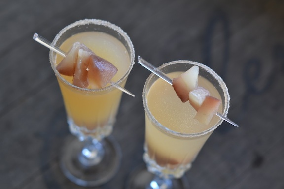 pear bellini from aerial view with garnish
