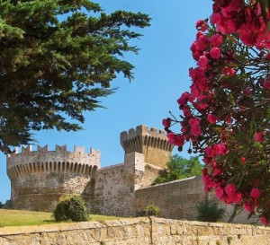 Castle of Populonia with pink flowers on the righthand side. Blue sky with various bushes and trees.
