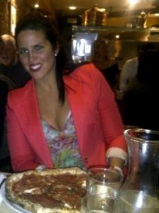 Maja indulging in her weekly pizza.