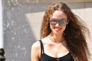 picture of abby for meet the team sunglasses and black tank top