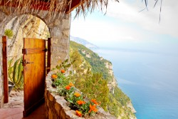 door on top of a mountain in amalfi coast over looking the ocean