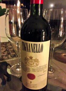 Tignanello with two glasses of wine