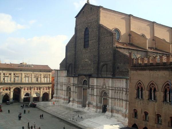 Facade of San Petronio in Piazza Maggiore square in Bologna