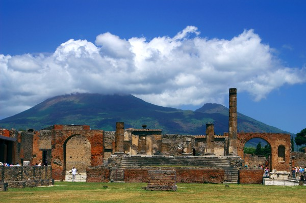 Pompeii was buried under 13 to 20 ft of ash and pumice in the eruption of Mt. Vesuvius