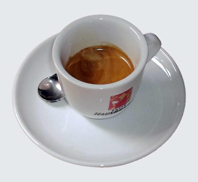 espresso on plate with spoon