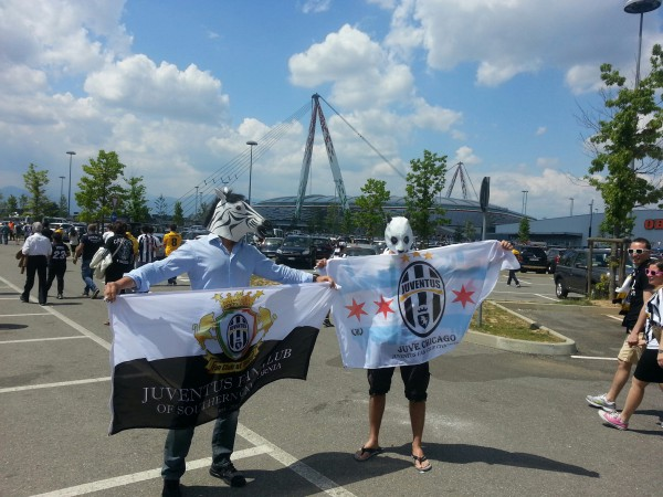 From left: Maurizio from Around Juventus and Jakub from Juve Chicago Fan Club at the Stadio Olimpico di Torino