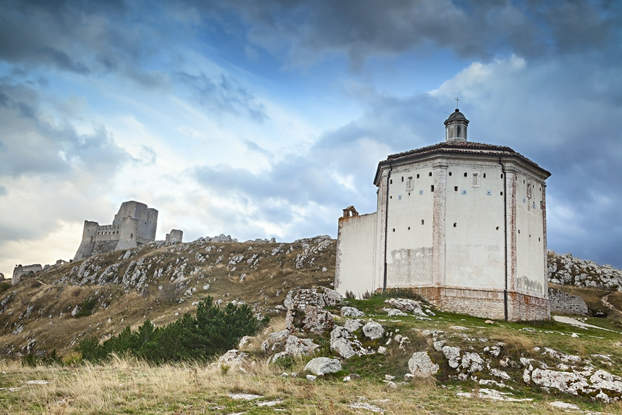 Rocca Calascio is a mountaintop fortress in the Province of L'Aquila in Abruzzo, Italy