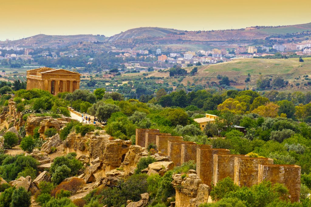 Sunset in Temple of Concordia - Valley of the Temples, Agrigento, Sicily