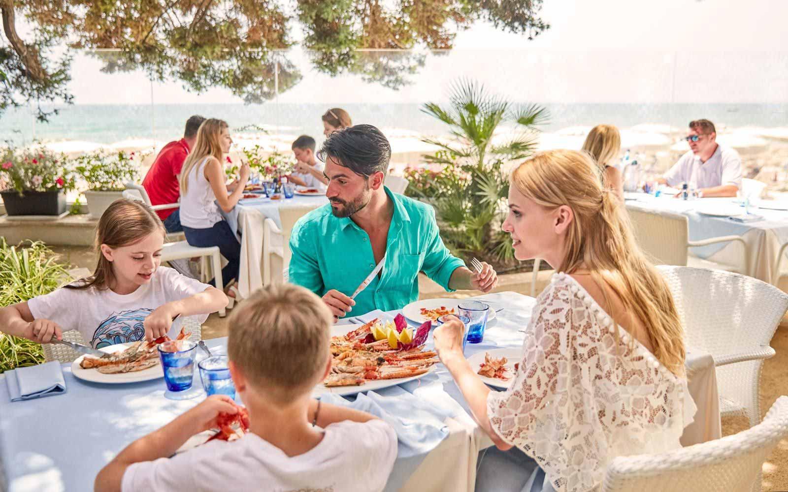 Fish Market Restaurant family lunch at the Forte Village Resort