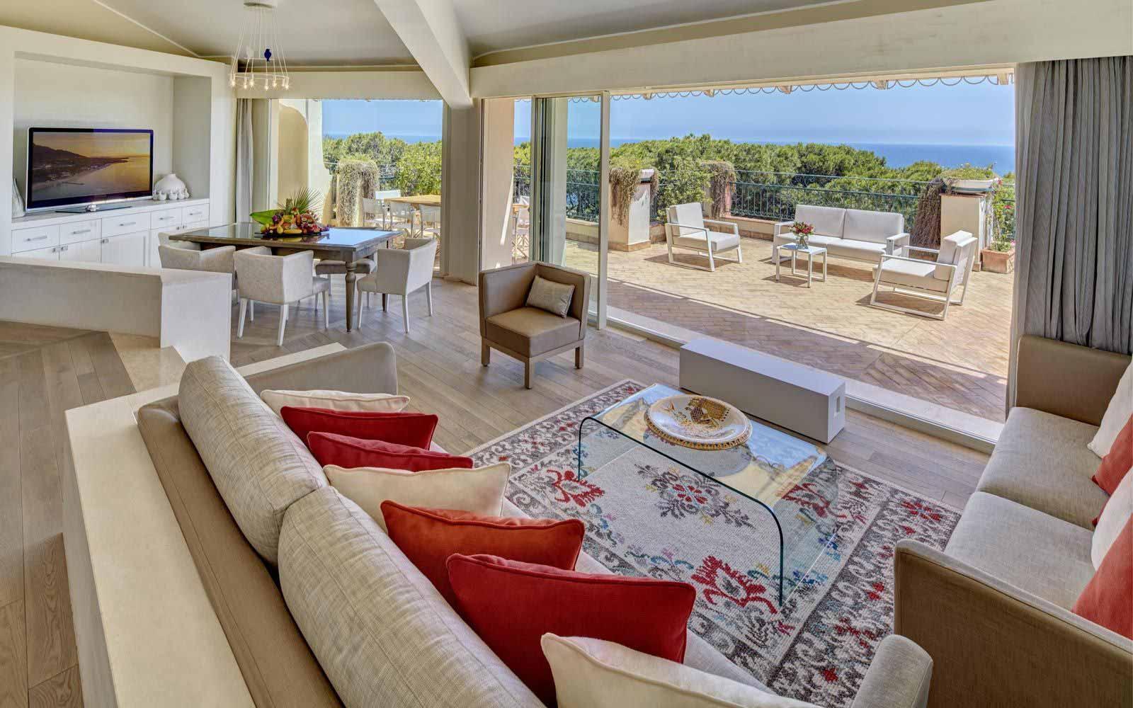 Hotel Castello Imperial Suite living room at Forte Village Resort