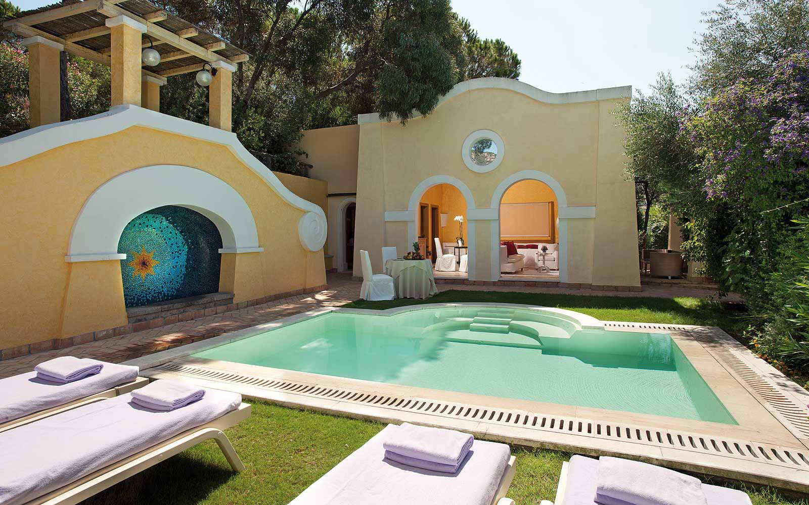 A private swimming pool for a suite at Forte Village Le Dune