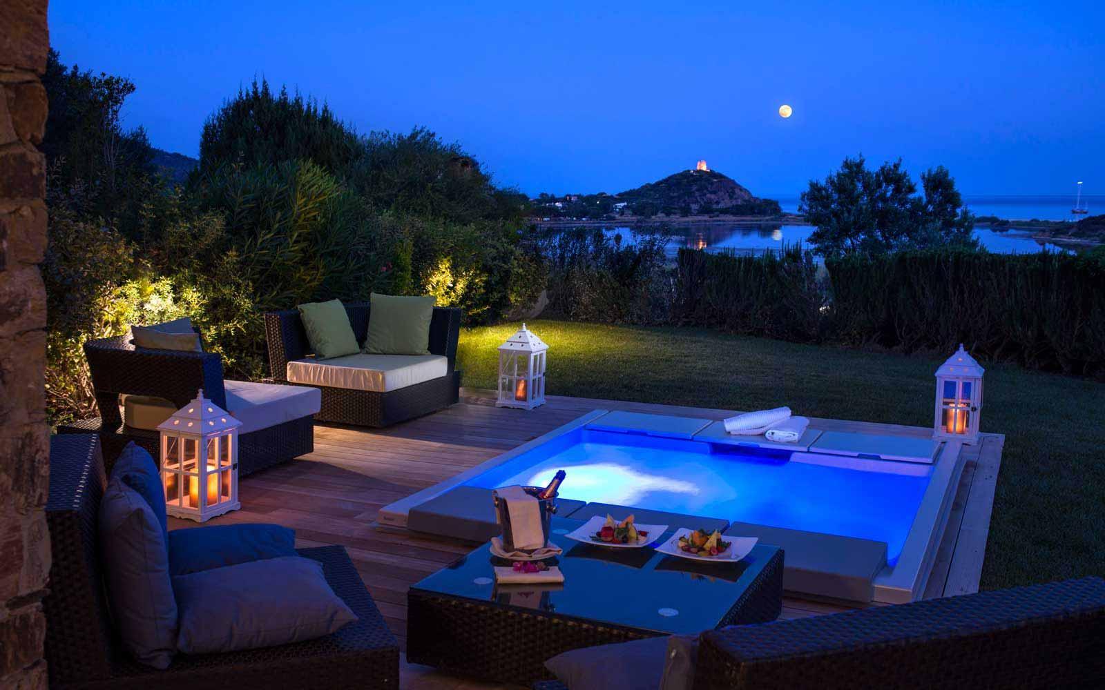 Hotel Laguna garden suite swimming pool at night
