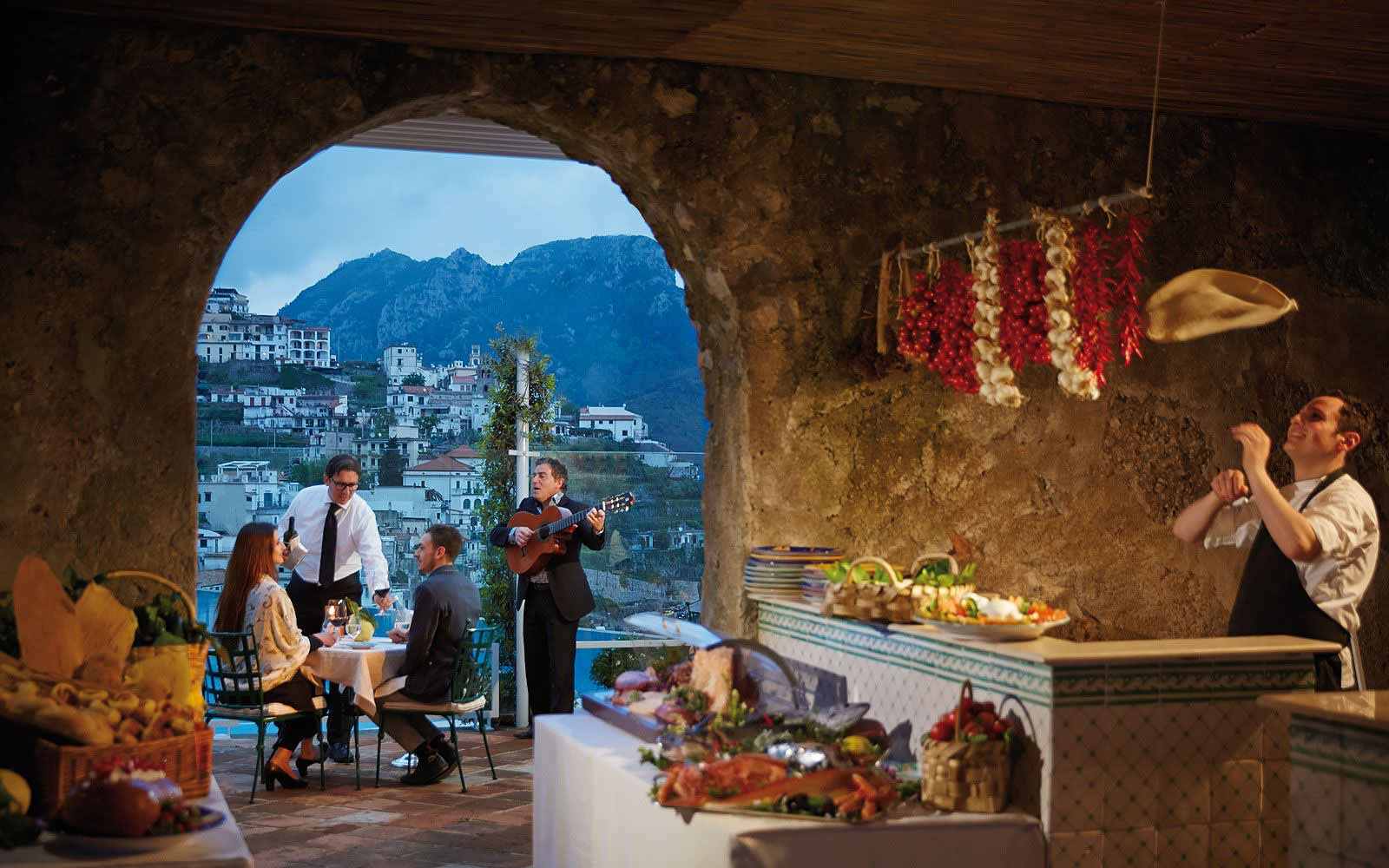Outdoor dining at the Belmond Hotel Caruso