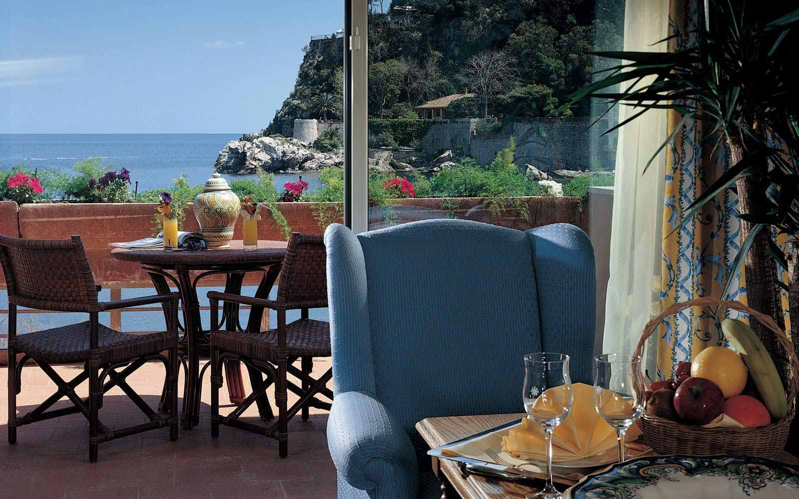 Junior suite private balcony at Grand Hotel Mazzaro Sea Palace