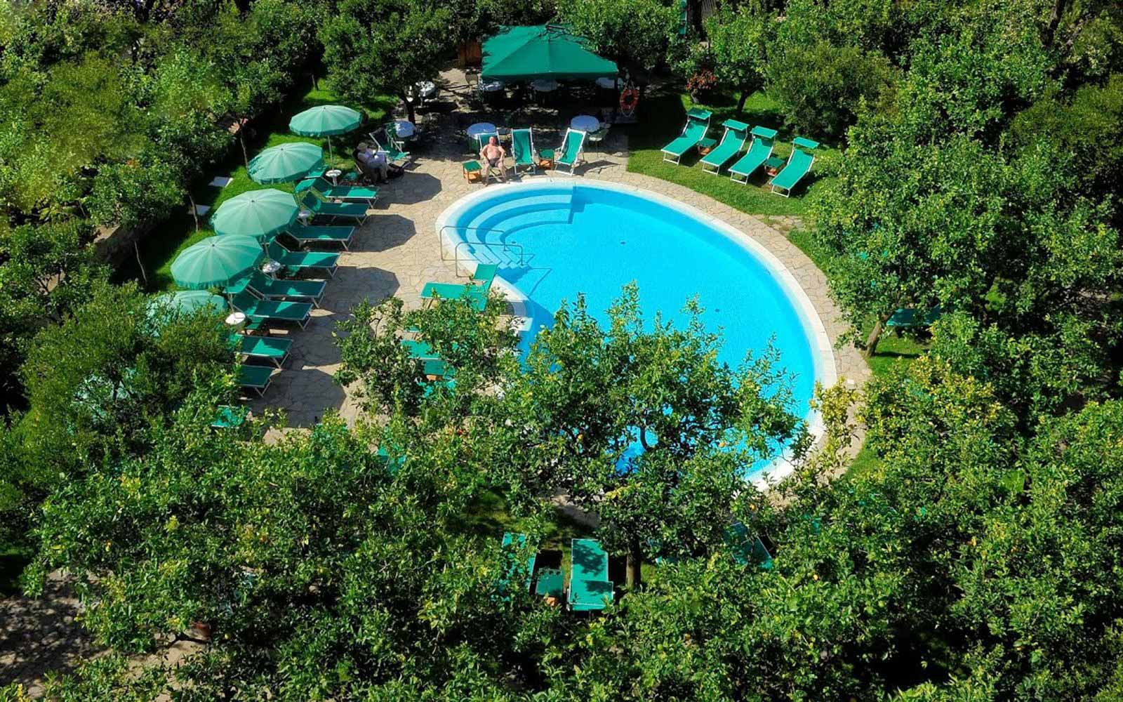 Aerial view over the pool at Hotel Antiche Mura