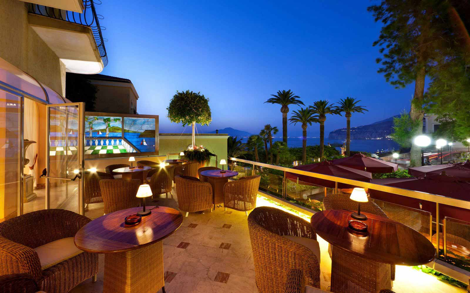 Evening drinks on the terrace at Hotel Continental Sorrento at night