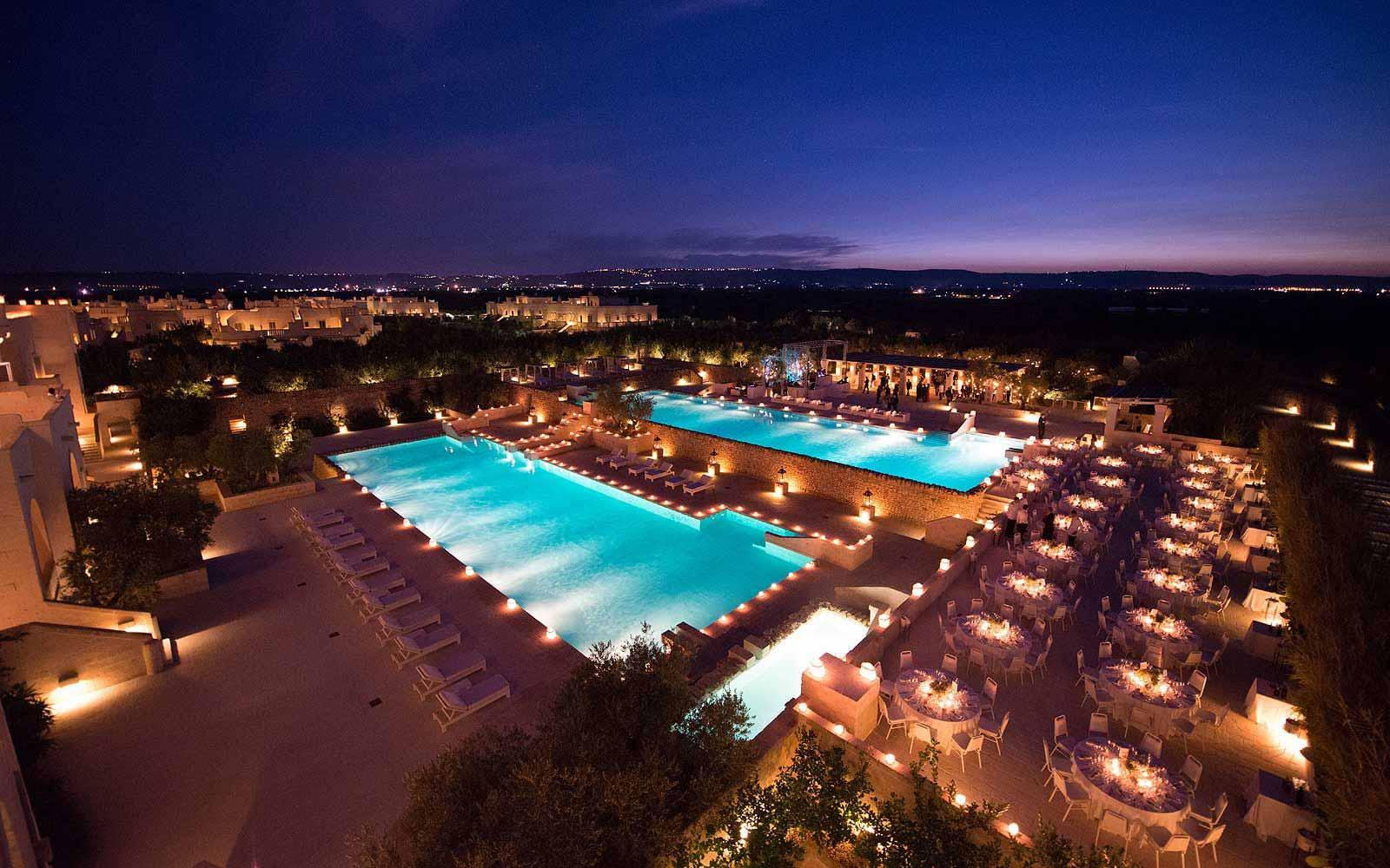 Nighttime panoramic view of the Borgo Egnazia