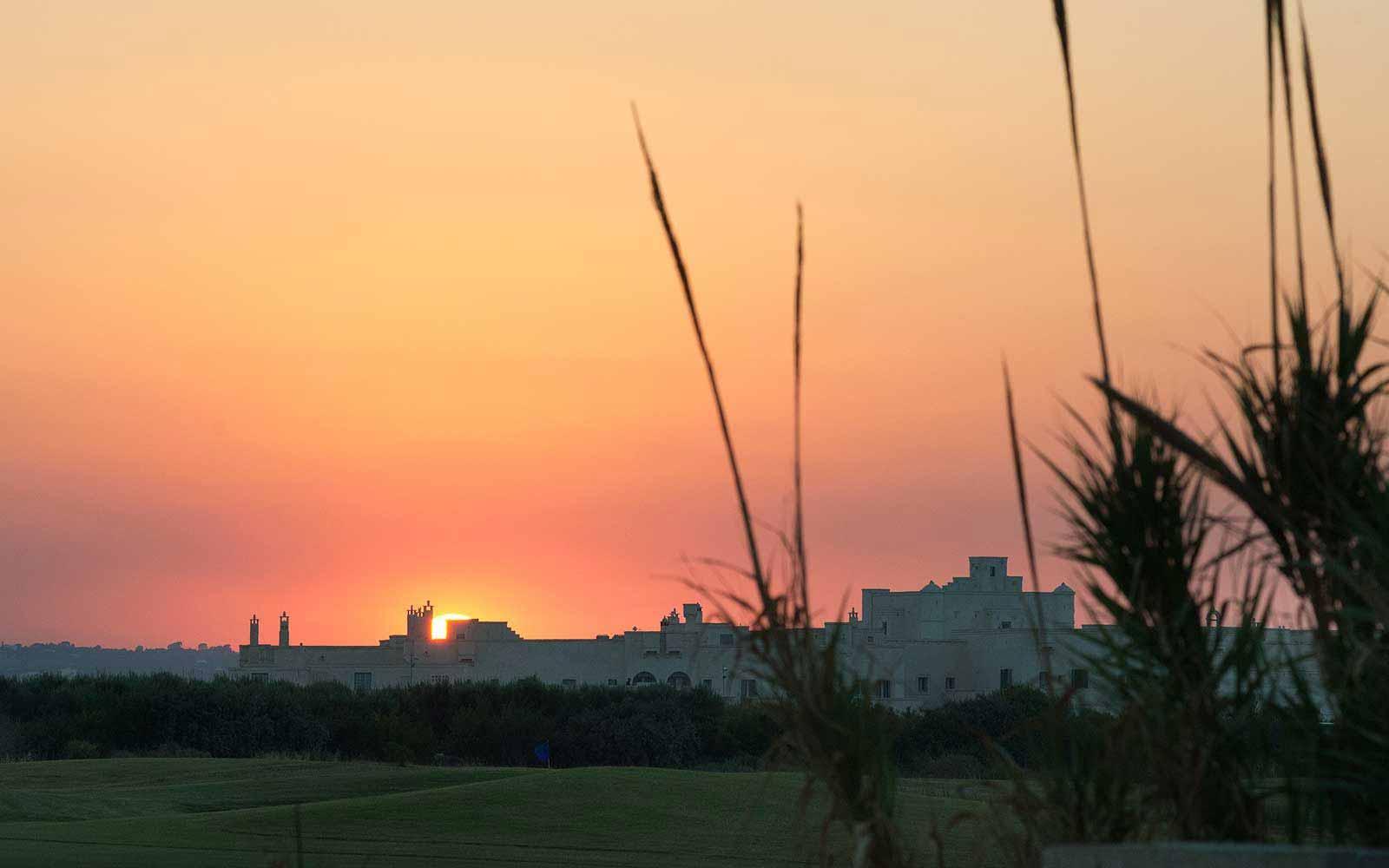 Panoramic sunset view of the Borgo Egnazia