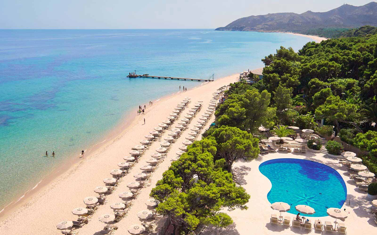 Aerial view beach Castello pool at the Forte Village Resort