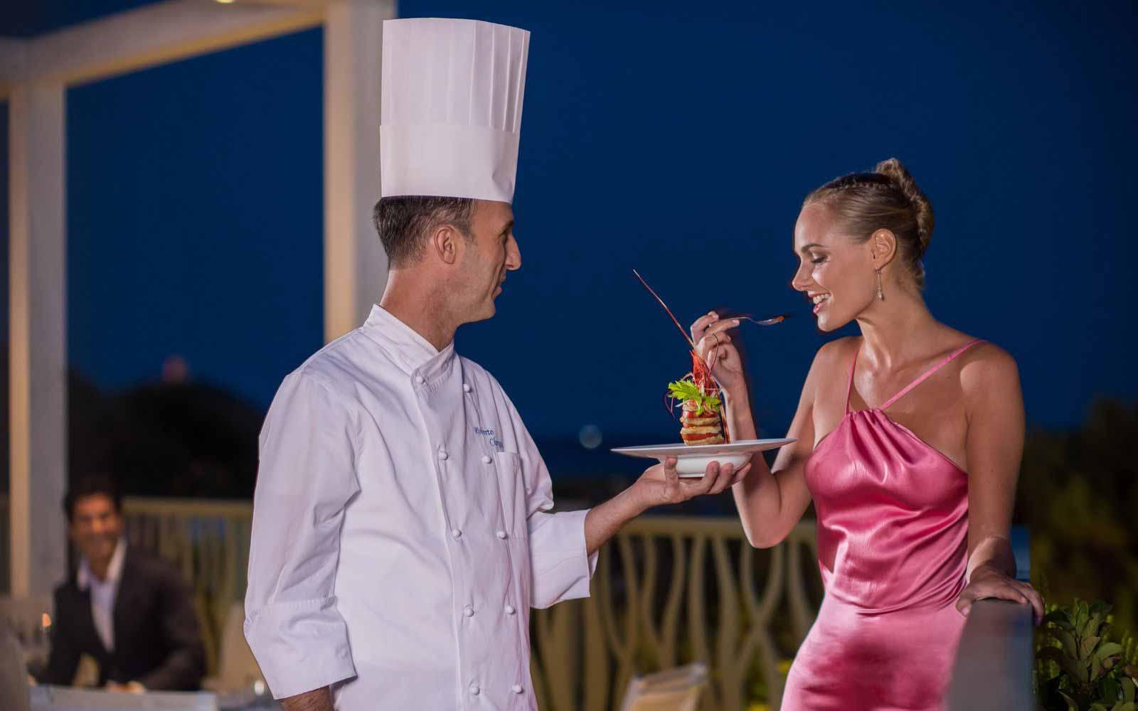 Gourmet dinner at the Chia Laguna Resort