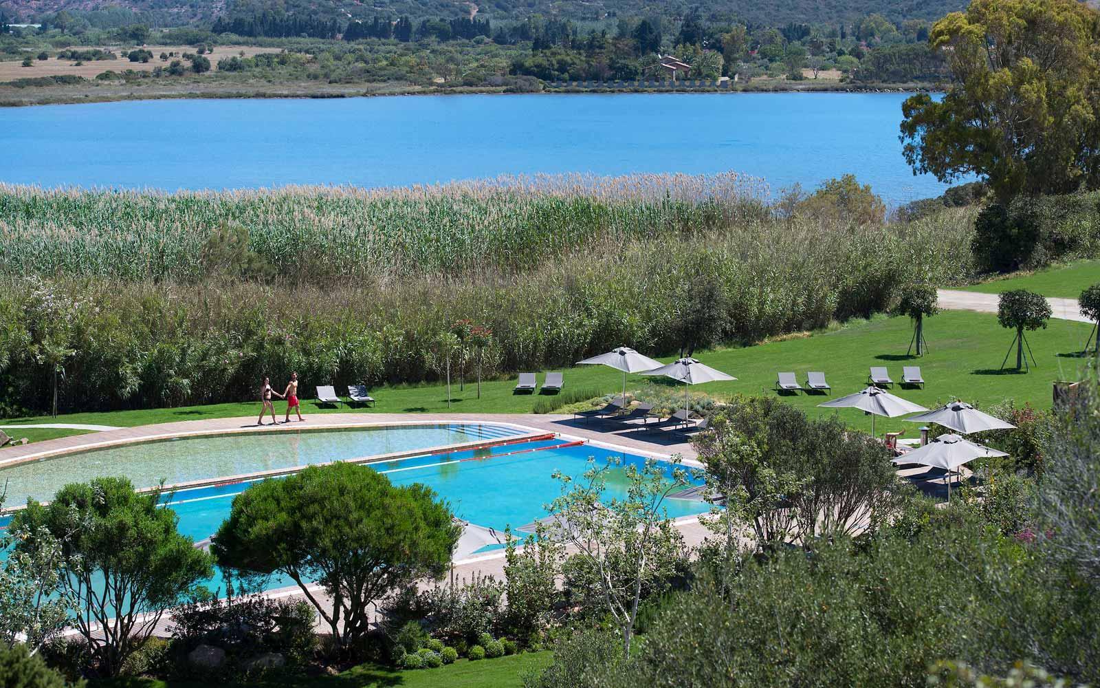 Pool view at  Chia Laguna Resort Hotel Baia