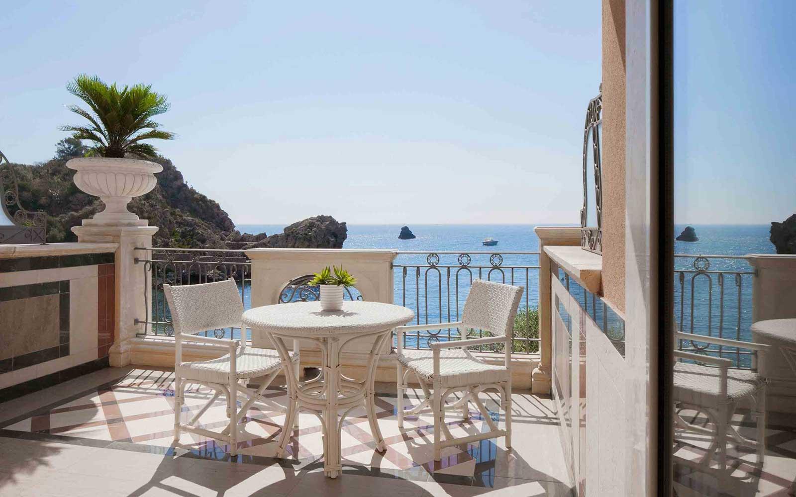 Classic Sea View Room Balcony at Grand Hotel Mazzaro Sea Palace