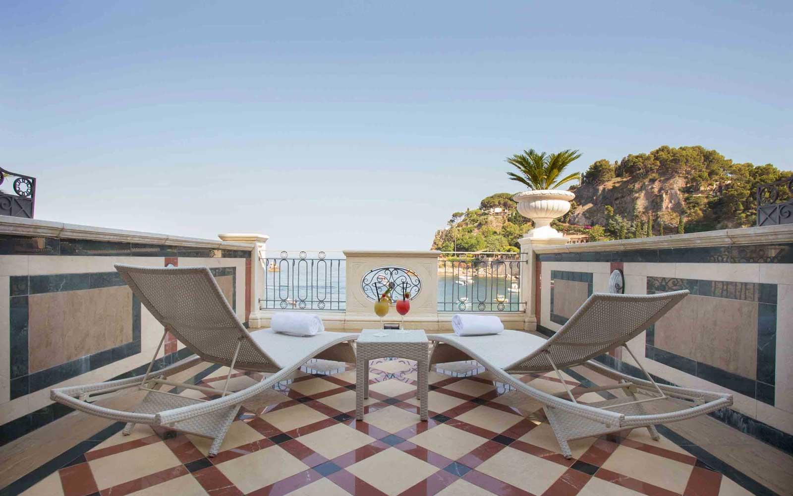 Superior Sea View Room Balcony at Grand Hotel Mazzaro Sea Palace