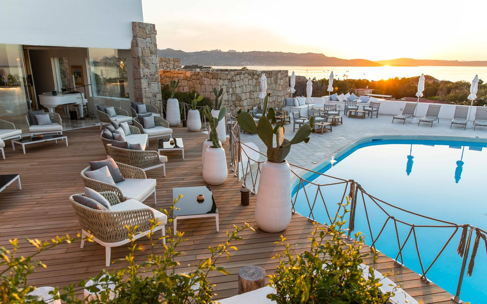 Terrace Pool Sunset